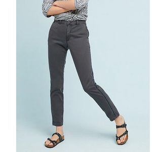 Anthropologie Chino Gray Relaxed Striped Trousers